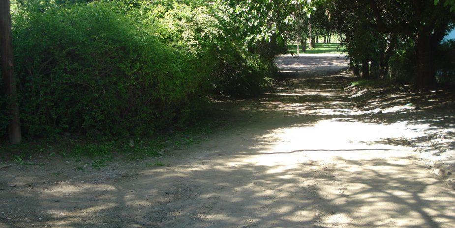 Calle de acceso al complejo